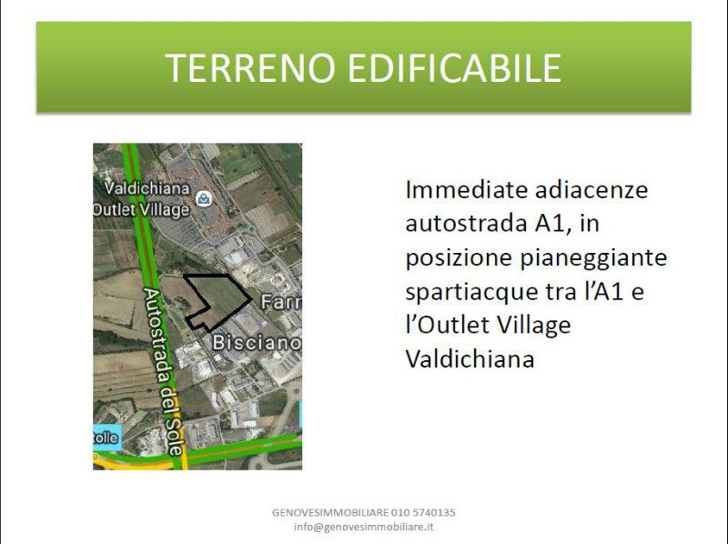 SINALUNGA, Loc. Bisciano, immediate adiacenze Outlet, terreno industriale 4,6 ettari edificabile al Rif.9517672