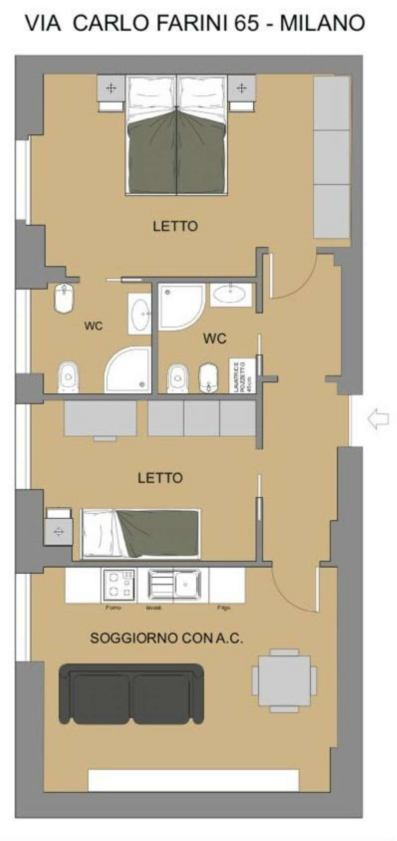 Appartamento in vendita 3 vani 75 mq.  via Farini 65 Milano