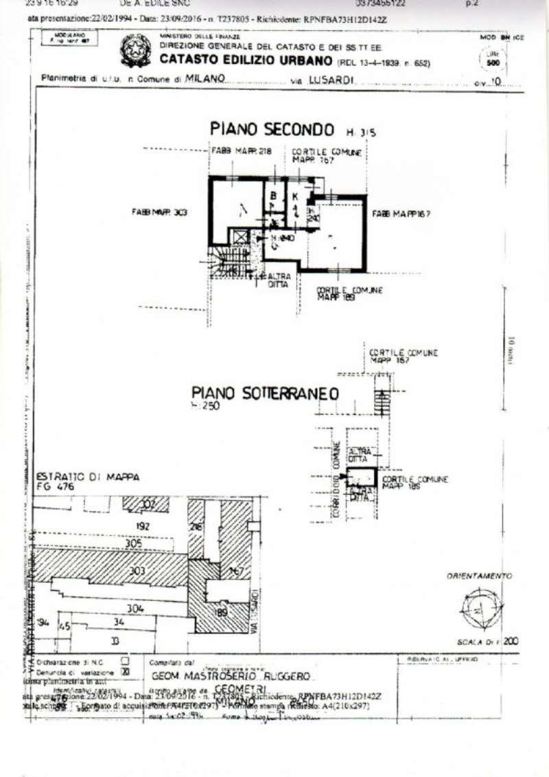 Affitto  bilocale Milano Via Lusardi 1 1067358