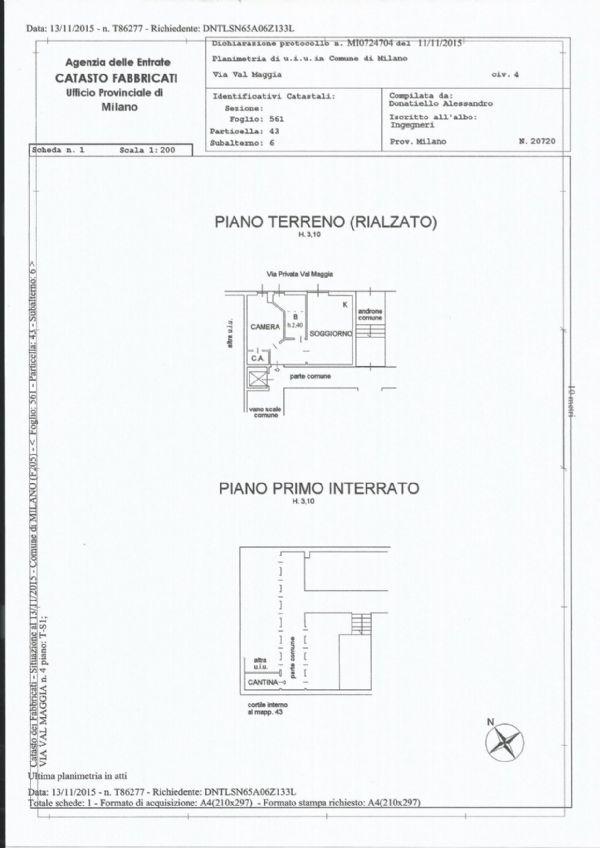 Vendita  bilocale Milano Via Privata Val Maggia 1 1029783