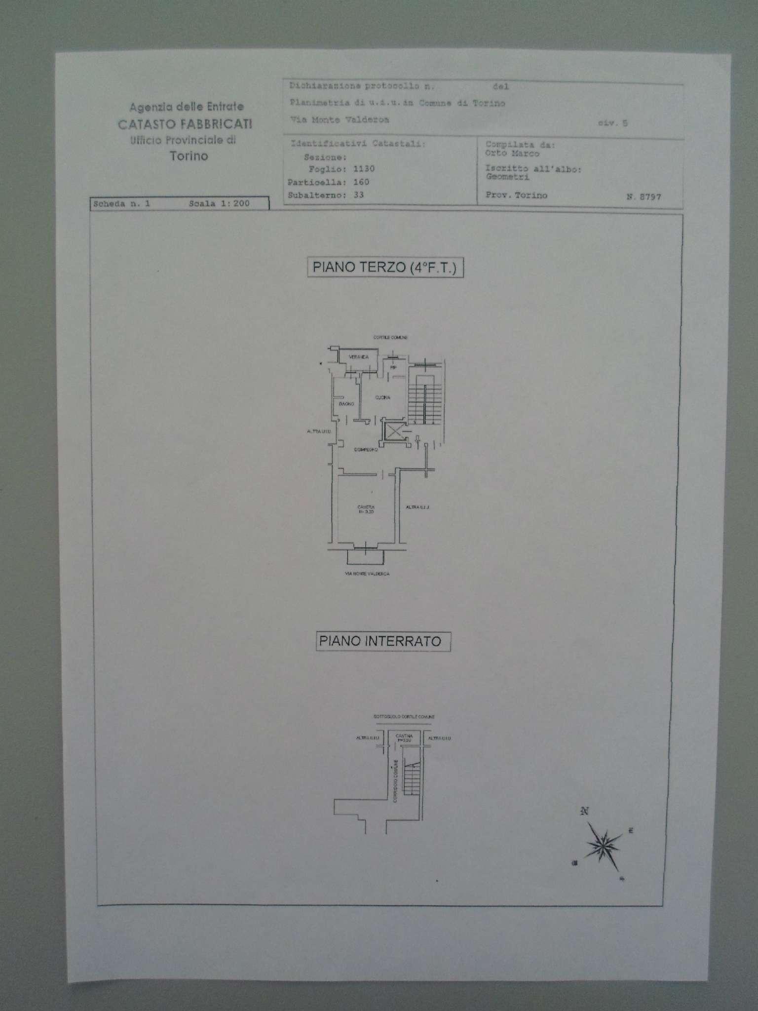 Vendita  bilocale Torino Via Monte Valderoa 1 834569