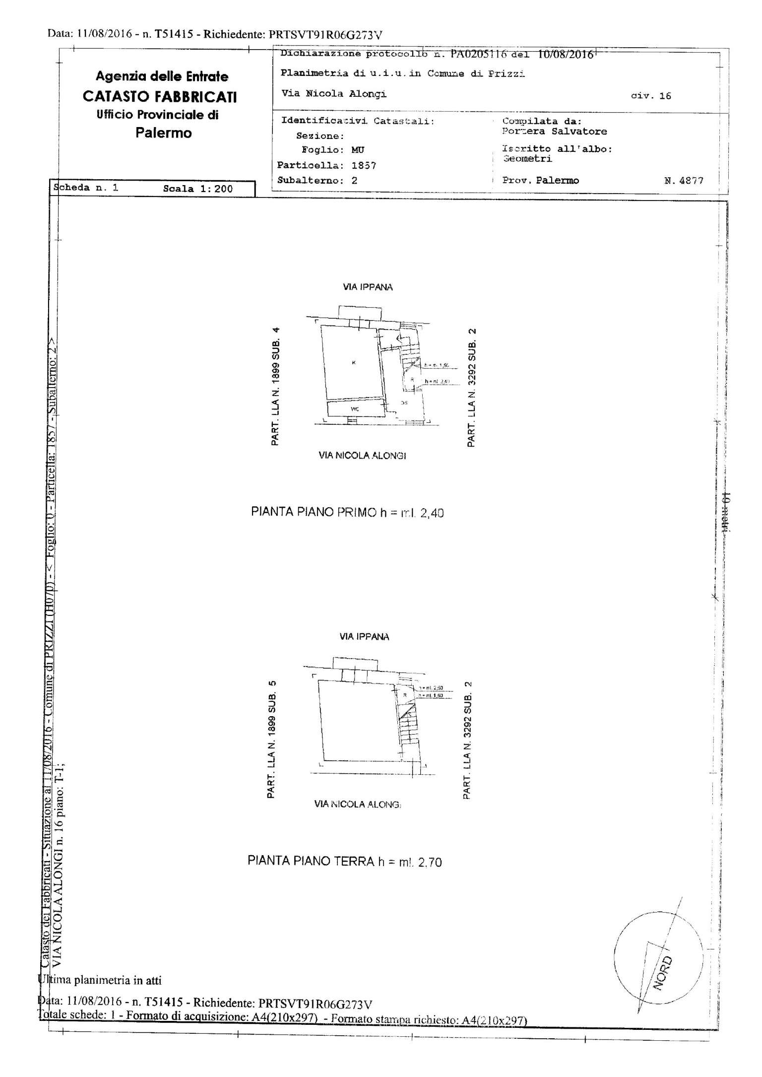 Vendita  bilocale Prizzi Via Nicolò Alongi 1 1067343