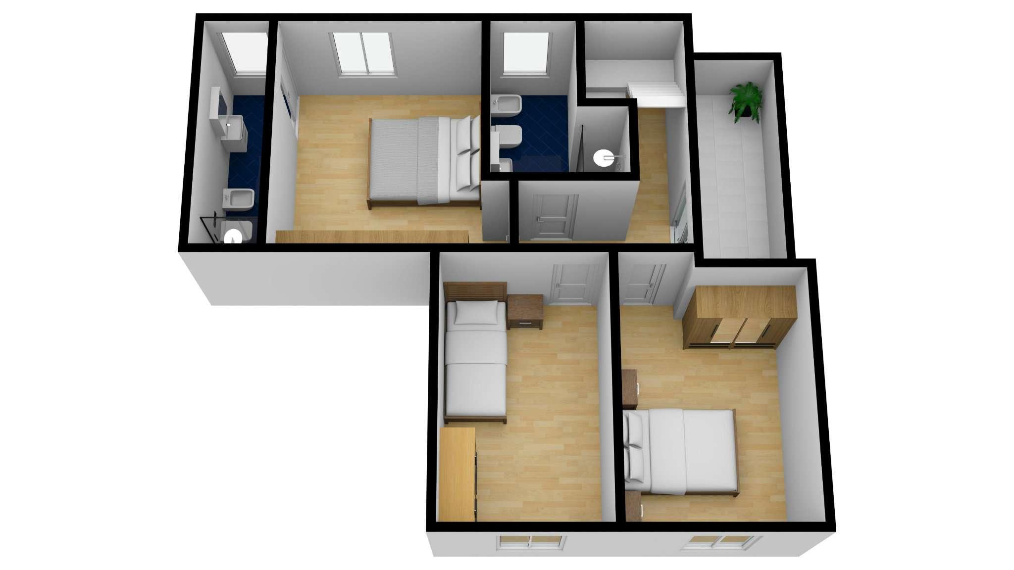 plan C2 3D P1 vista inclinata