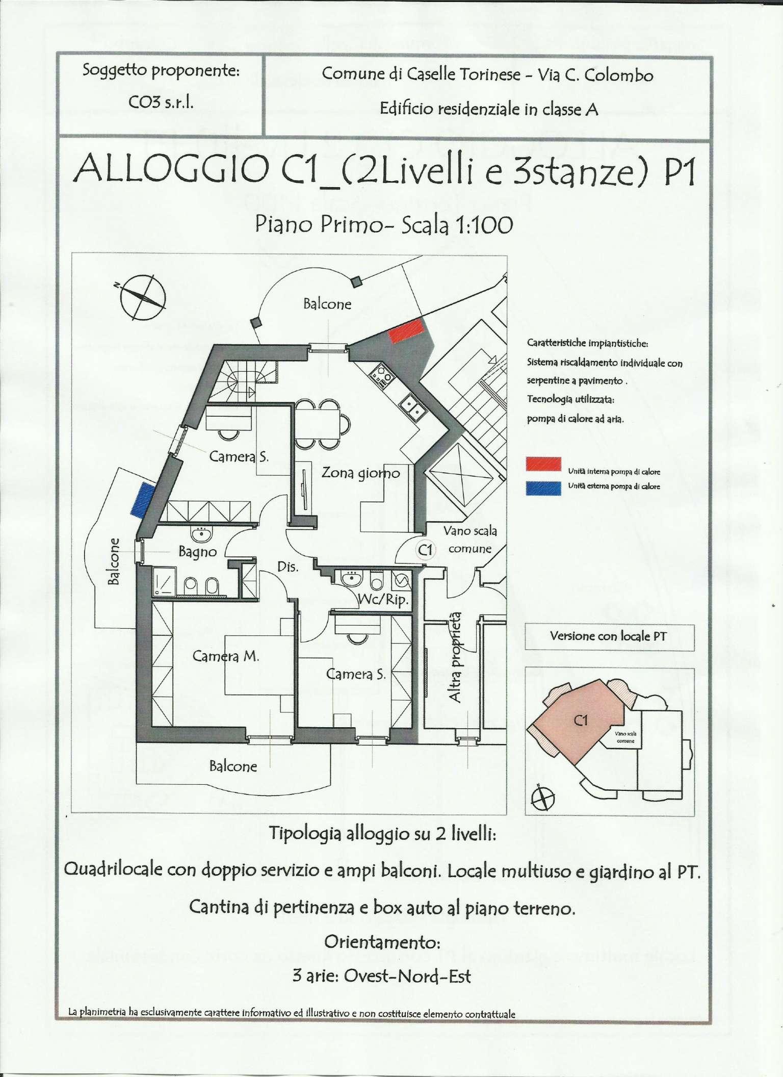 Appartamento in vendita a Caselle Torinese, 5 locali, prezzo € 230.000 | Cambio Casa.it