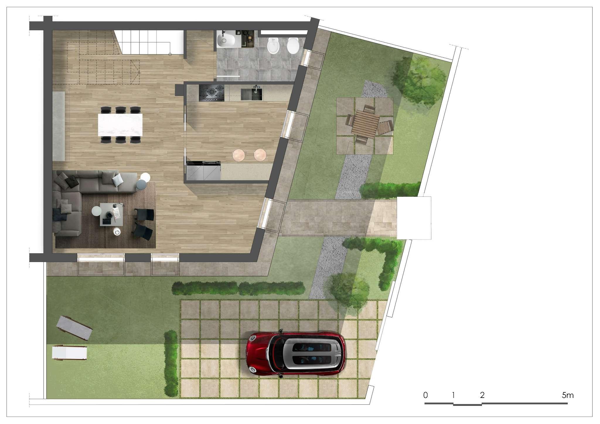 Porzione di villa quadrifamiliare con corte esclusiva e terrazzo a