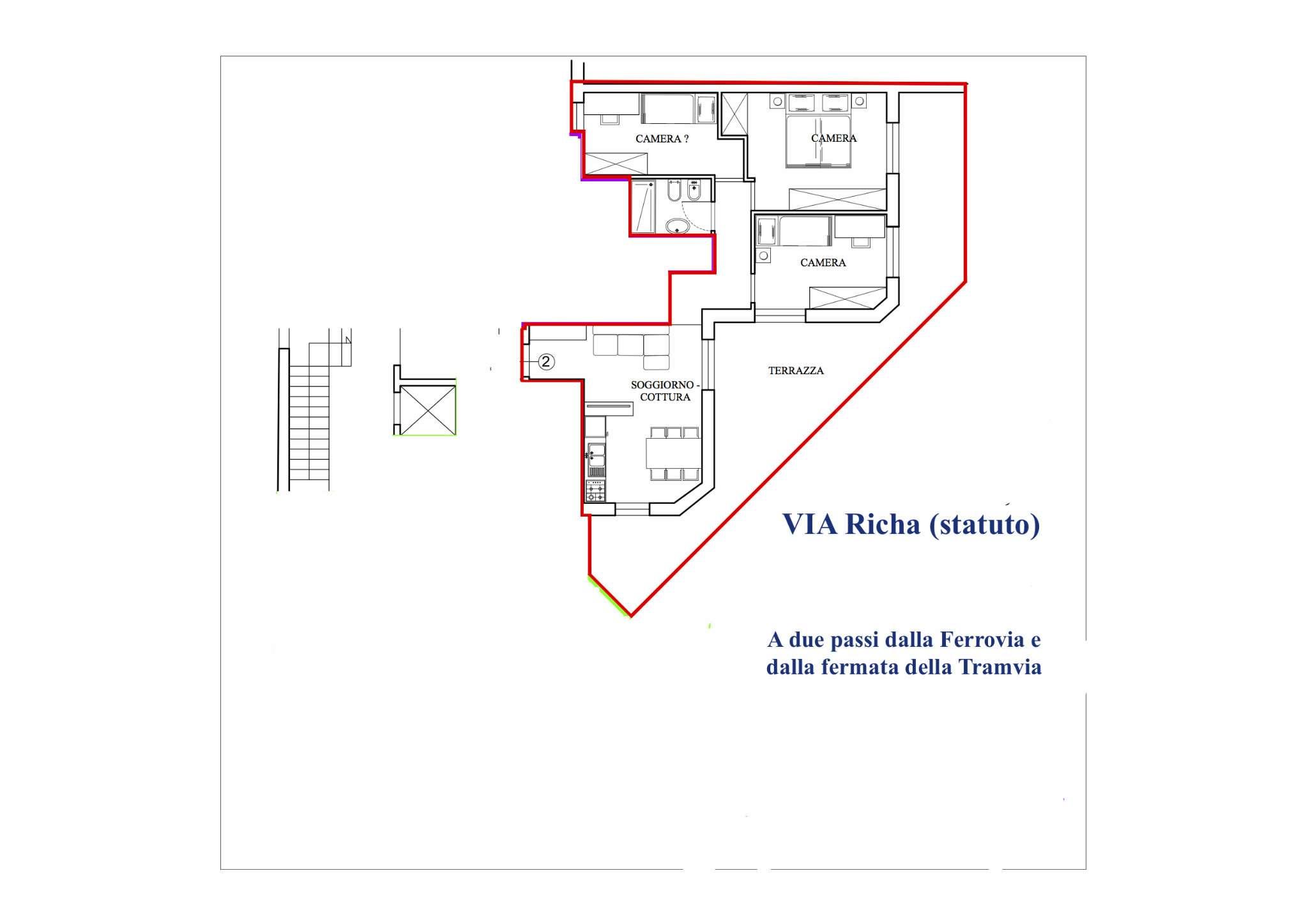 Attico in vendita 4 vani 72 mq.  via Richa Firenze