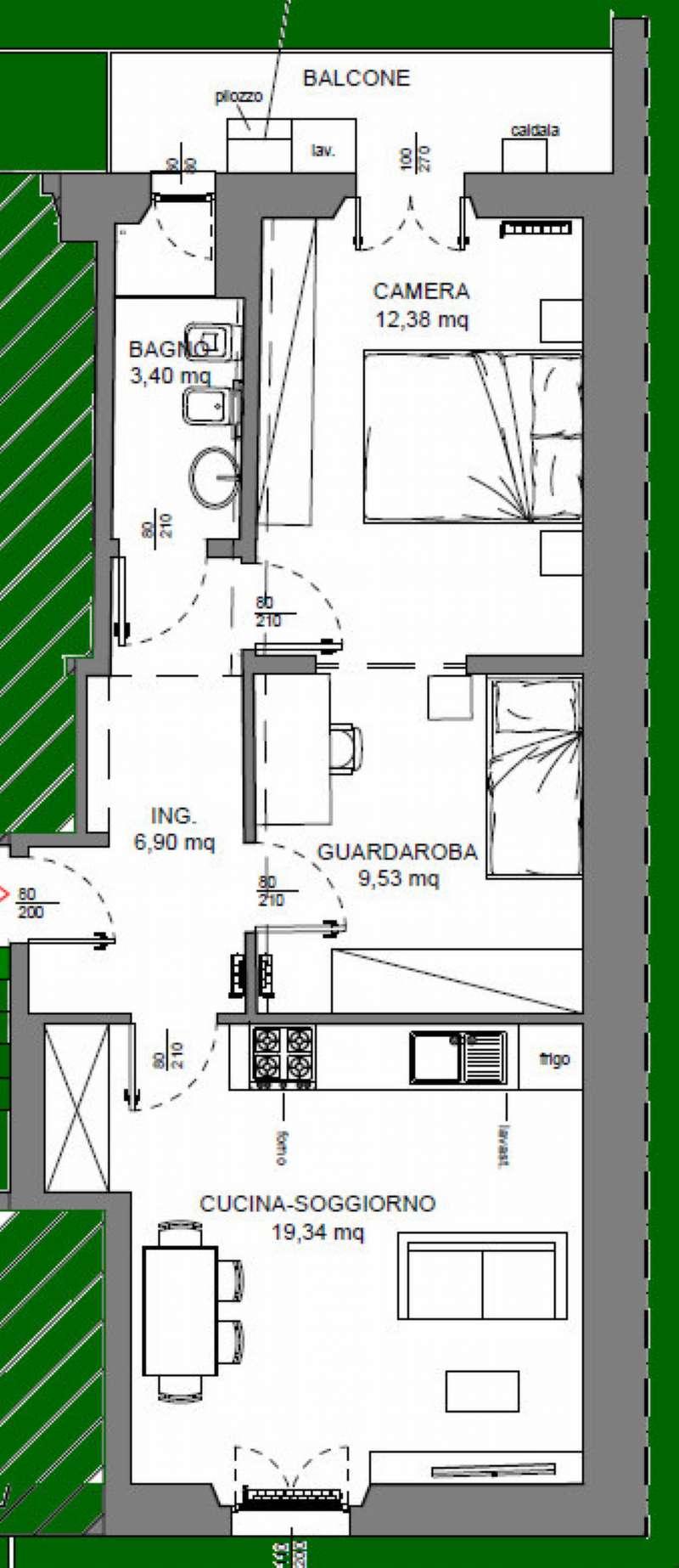 Appartamento in vendita 3 vani 52 mq.  via del Gelsomino 40 Firenze