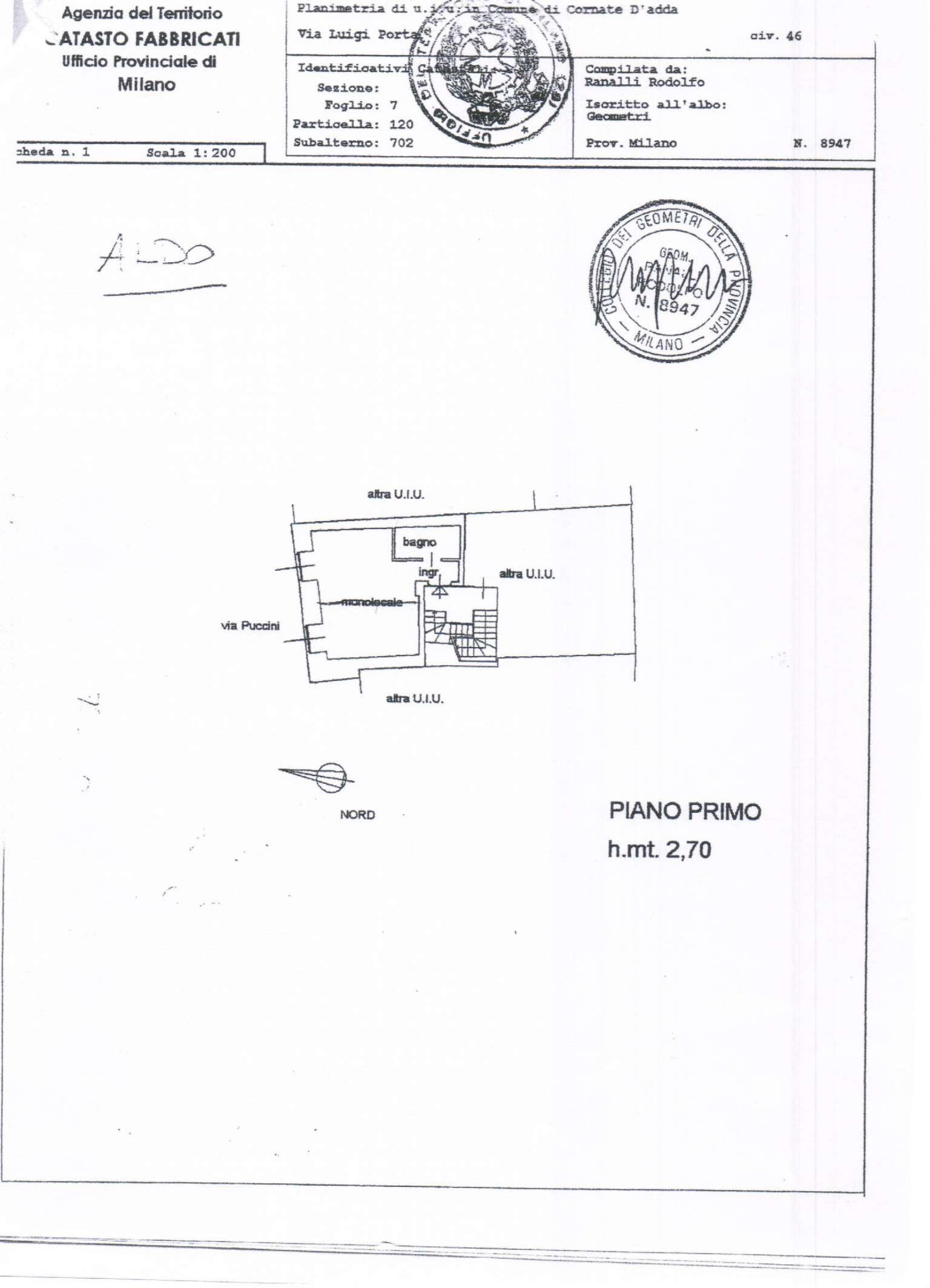 Vendita  bilocale Cornate d Adda Via Luigi Porta 1 1019718