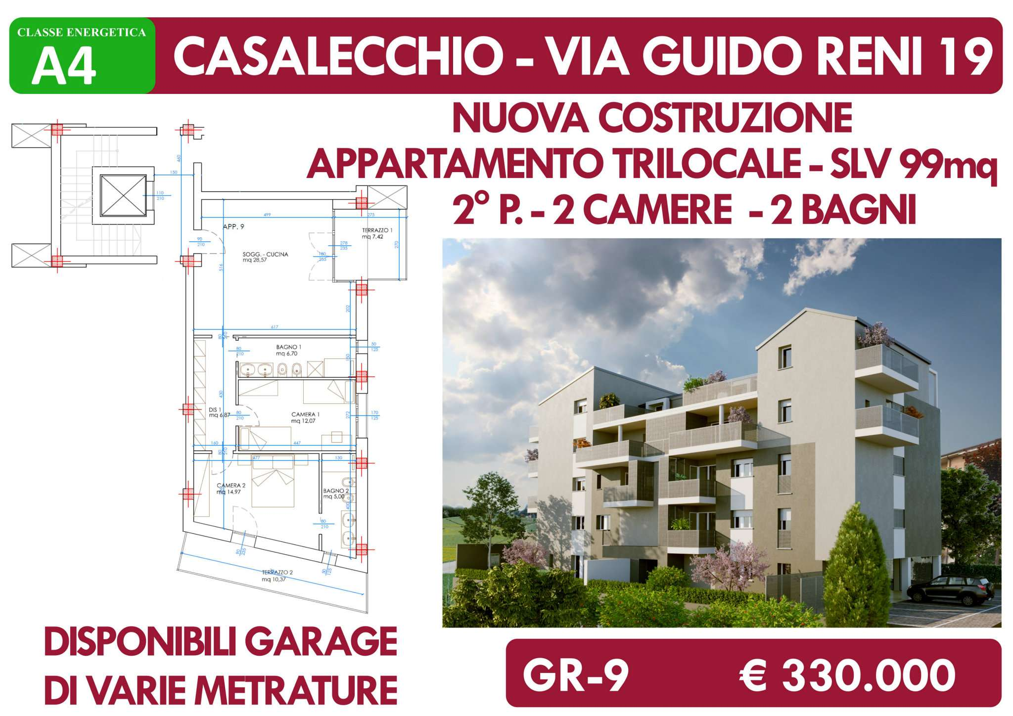 Appartamento in vendita a Casalecchio di Reno, 4 locali, prezzo € 330.000 | PortaleAgenzieImmobiliari.it