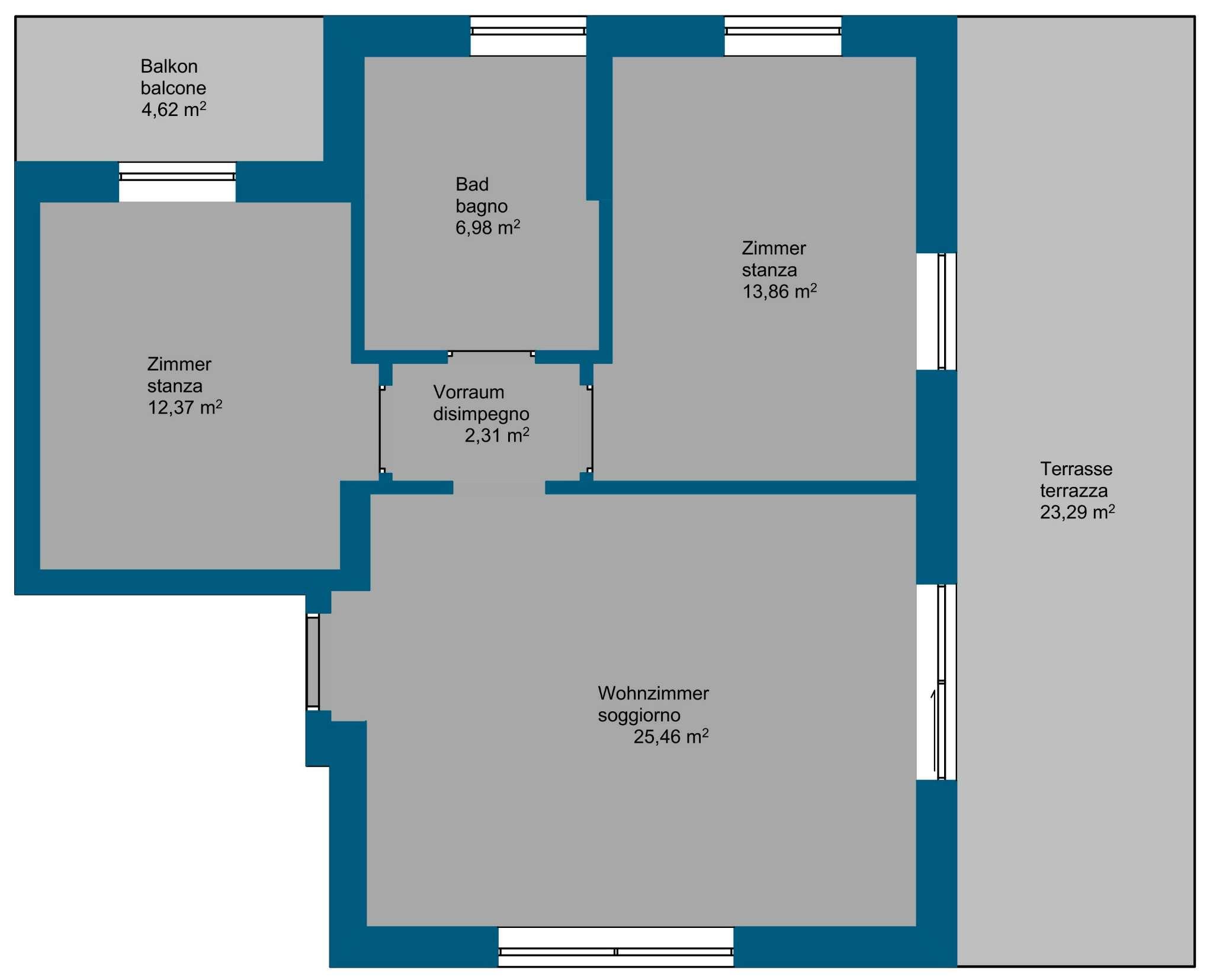 Nuova costruzione: mansarda con terrazza e balcone
