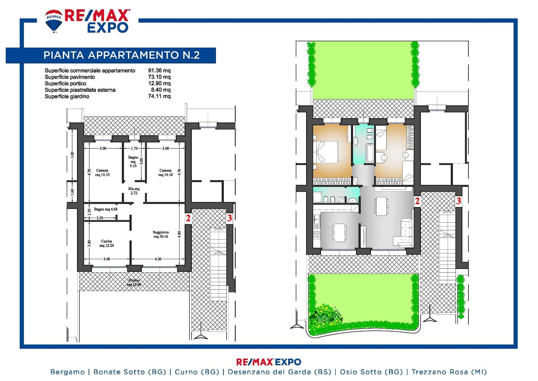 Appartamento in vendita a Ponte San Pietro, 3 locali, prezzo € 195.000 | PortaleAgenzieImmobiliari.it